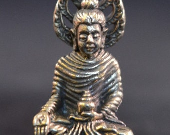 Buddha with Stupa Brass Statue for meditation and altars