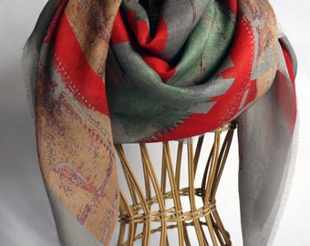 grey and red scarf / cashmere scarf / scarves for women / tie scarf / summer scarf / hair wrap scarf