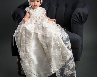 Heirloom Christening Gown, Penelope Lace Baptism Gown
