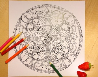 STRAWBERRY/Mandala/coloring page/Instant download/coloring/adult coloring pages/colouring pages/PRINTABLE/coloring pages/download/Mandalas