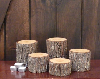 Natural Log Tea Light Holders (set of 5), Wood Tea Light Holders, Log Candle Holders