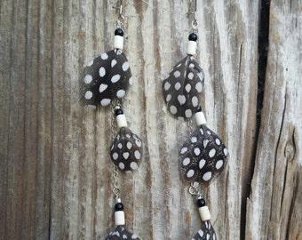 Polka Dot Feather Dangle Earrings | Guinea Feather Earrings | Black & White Feather Earrings