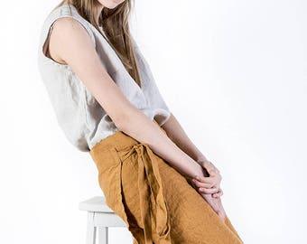 Linen skirt, Summer skirt, Linen women's clothing, midi linen skirt, large size clothing