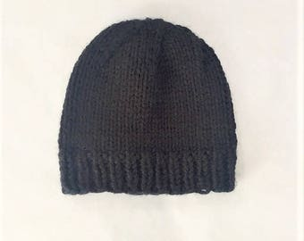 Chunky Knit Beanie, Oversized Hand Knit Hat - Black (Adult)