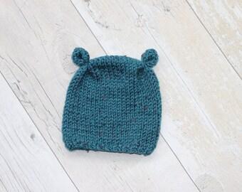Newborn Hat, Baby Boy Hat, 0 - 3 M Hat, Baby Shower Gift, Hand Knit Hat, Blue