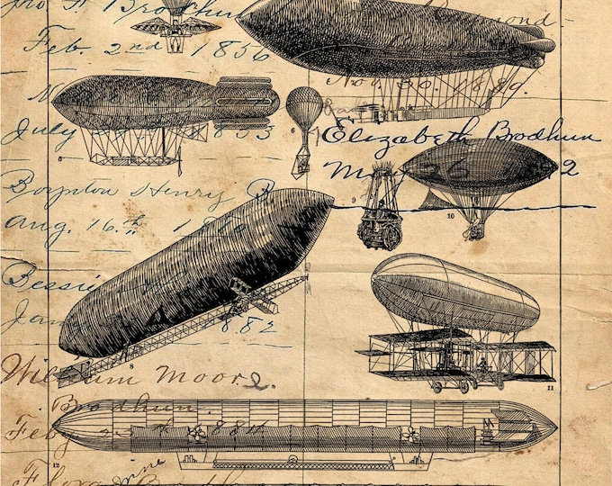 Hot air balloon blimp aeronautics Zepplin parachute print repro antique paper choice rustic industrial wall hanging gift AEOR308