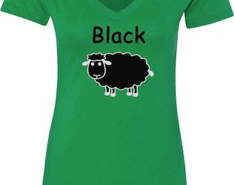 Ladies Black Sheep of the Family V-Neck Shirt BLACKSHEEP-N1540