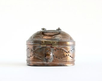 Brass Cricket Box, Gothic Style Metal Box, Copper Box With Handle