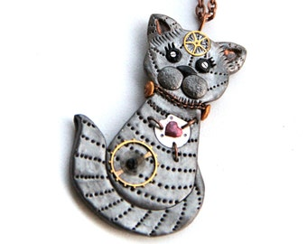 Cat steampunk necklace Silver cat necklace Steampunk jewelry Steampunk kitten pendant Watch particle cat pendant Cat lovers gift Pet jewelry
