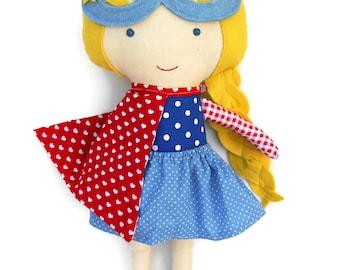 CLOTH DOLL superhero girl doll in nautical look, toddler girl gift cape & mask for super hero birthday party handmade dolls custom kids gift