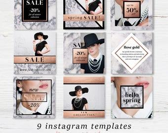 Photographer instagram templates rose gold foil social media marble marketing kit photography social media template graphic design blogger