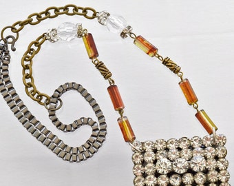 Crystal Statement Necklace - Vintage Brooch - Statement Necklace - Caramel Ice Collection 99.99