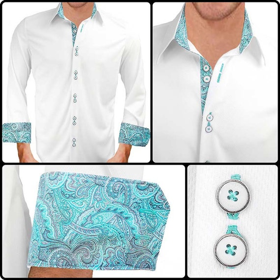 White With Teal Paisley Moisture Wicking Dress Shirt Made In