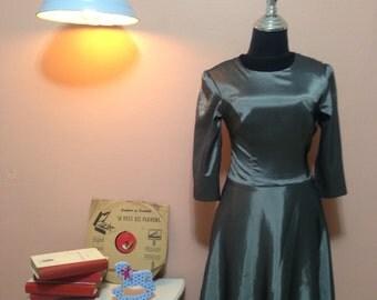 Dark Gray Vintage Dress. 80's Dress. Dark Gray  Dress. 1980 Dress. 1980 Womens dress. Dark Gray Vintage Dress For Women 1980's Size XS