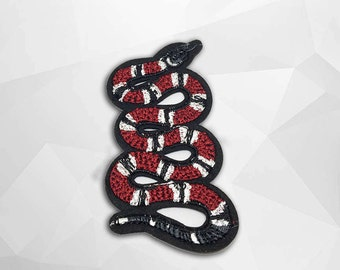 Red Snake Iron On Patch (L2) -  Snake Applique Embroidered Iron on Patch Size 4.8x8.6 cm