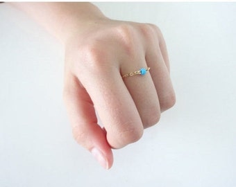 Birthstone Ring, Dainty Chain Ring, Turquoise Ring, Natural gemstone  Ring, Sterling Silver, Gold fill, Rose gold