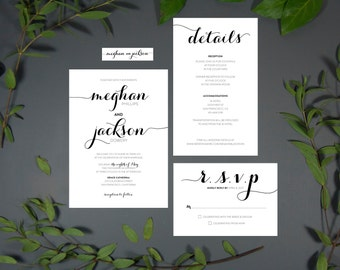 Modern Script Wedding Invitation Printable Digital File