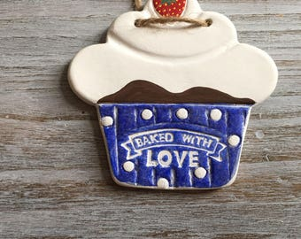 Cupcake hanging. Clay blue door or wall hanging, baked with love & strawberry. Perfect gift for bakers, bake off fans, cooks and cake lovers