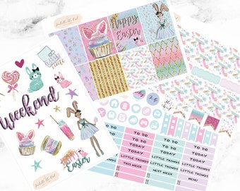 Happy Planner Beautiful Easter Bunny Weekly Sticker Kit