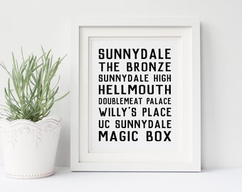 Buffy the Vampire Slayer Poster- Sunnydale, Buffy Places, BtVS, The Bronze, the Hellmouth, Gift for Buffy Fan, Buffy and Spike, and Angel