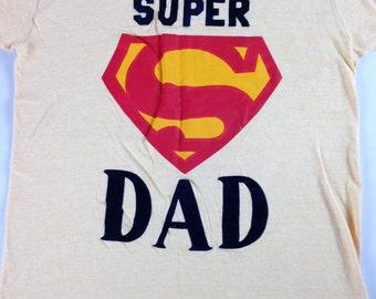 Super Dad T-Shirt Balfour Velvet Letters Mens SZ S-L Yellow Ugly Superman USA Made
