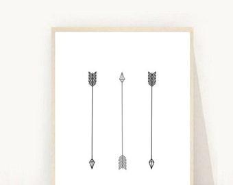 Arrow Decor, Black Arrow Art, Black Arrow Print, Printable  Art, Tribal Art, Modern Wall Art, Instant Download, Digital Print, Grey Arrow