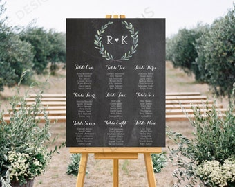 Personalised Printable Wedding Seating Chart, Wedding Table Plan - Blue Floral Chalkboard Collection