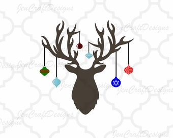 Christmas Deer Antler Hanging Ornaments svg Cutting Files, SVG Eps Png Dxf Cricut Design Space, Silhouette, Digital Cut Files Print Then Cut