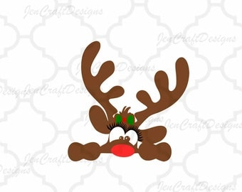 Peeking Girl Christmas Reindeer SVG,EPS Png DXF, Peeping Reindeer digital download files for Silhouette Cricut, vector Clip Art graphics