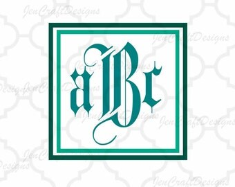 Interlocking Monogram Font SVG Upper and Lower with free frame Cutting File SVG EPS, Dxf Cut Files A to Z Alphabet for Cameo, Cricut