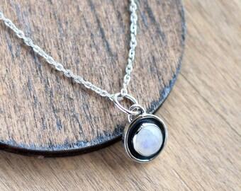 Moonstone Silver Pendant, Gemstone Silver Pendant, Moonstone Jewelry, Moonstone Necklace, Rainbow Moonstone Pendant, Geometric necklace