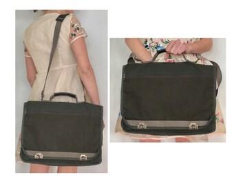 Vintage Messenger Bag - Army Green Satchel - Nylon School Bag - Mens Briefcase - Laptop Bag - Portfolio Bag - Crossbody Messenger-BAG-21