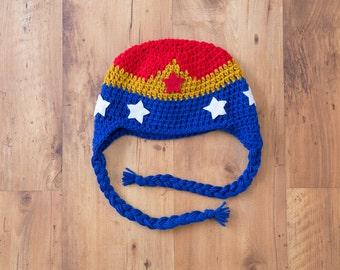 Wonder Woman Hat, Wonder Woman Beanie, Super Hero Hat, Super Girl Hat, Wonder Woman, Wonder Woman Crochet, Wonder Woman Costume