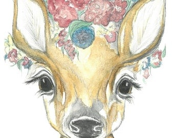 A4 Fawn Watercolour Print, Fawn Watercolor Nursery Print, Deer Nursery Print, Deer watercolour print, Deer Nursery Art, Fawn Watercolour Art