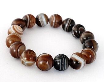 Brown Banded Agate Bracelet, Brown Banded Agate Bracelets 10 mm, Brown Banded Agate Bracelets, Brown Banded Agate Bead Bracelet 10 mm , Gift