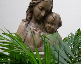 Virgin MARY with JESUS Child Vintage Religious Art by Johannes Dommisse (1878- 1955), Large Plaster Bust Statue, Catholic Church Altar Décor