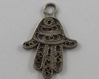 Hamsa/Hand of Fatima Sterling Silver Vintage Charm For Bracelet