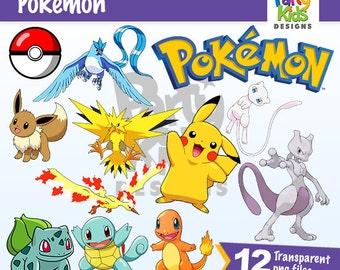 Pokemon Go Clipart, Instant Download, Pokemon PNG files, Pikachu Clipart, Pokemon Printable, PC-341