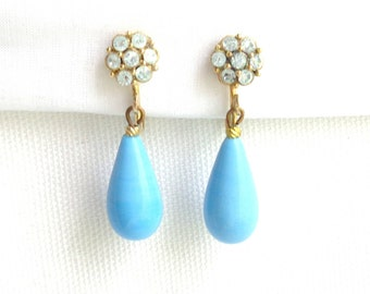 Sweet Glass Turquoise Tear Drop and Ice Turquoise Rhinestone Vintage Clip Back Earrings - Estate Jewelry