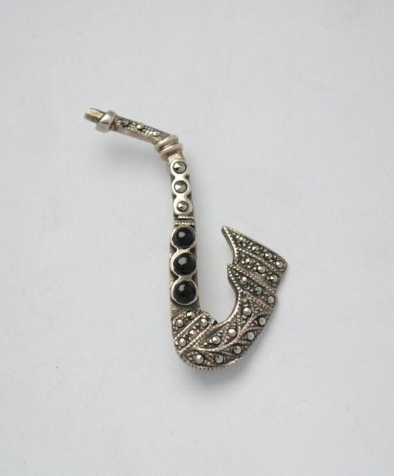Saxophone brooch - vintage brooch - onyx marcasite - silver brooch - vintage jewelry - marcasite jewelry - iroquoise