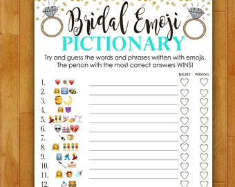 Bridal Shower Game EMOJI Pictionary - Teal Blue and Gold - Instant Printable Digital Download - diy Bridal Shower Printables