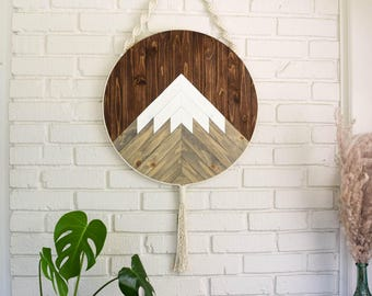 Wood Wall Art - Macrame Wall Hanging - Boho Wood Art - Round Wooden Wall Art - Modern Wood Art - Round Macrame - Fiber Art - Boho Nursery