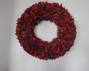 CHRISTMAS CLOTH WREATH, Rag Wreath, Holiday Wreath, Christmas Decor, Door Wreath, 16 inch wreath