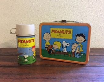 1959 Peanuts Metal Lunch Box with Matching Thermos/ Very Good Condition!