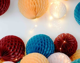 Tissue paper honeycombs set / round paper lanterns- burgundy, mustard, teal, peacock, ivory and dusty pink - wedding party decorations