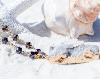 Druzy Gold Edged Stone on a purple bead gold necklace