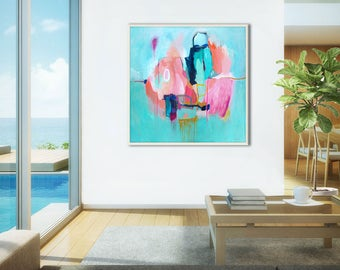 Aqua Blue Green Coastal ABSTRACT PAINTING, fine art print modern painting, large original abstract painting, abstract giclee PRINT on canvas