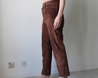 Two fingers appetite suppressant / velvet leather pants / Vintage / size high and straight / Brown-Chocolate Suede /.