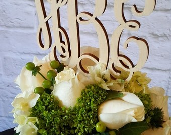 Cake Topper - UNPAINTED Wooden Monogram Cake Topper - Wedding Cake Topper - Birthday Cake Topper