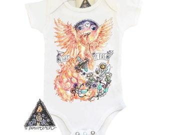 FIREBIRD PHOENIX bird feather baby bodysuit creeper one piece baby clothes / Bird boho fire phoenix / Baby Shower Gift